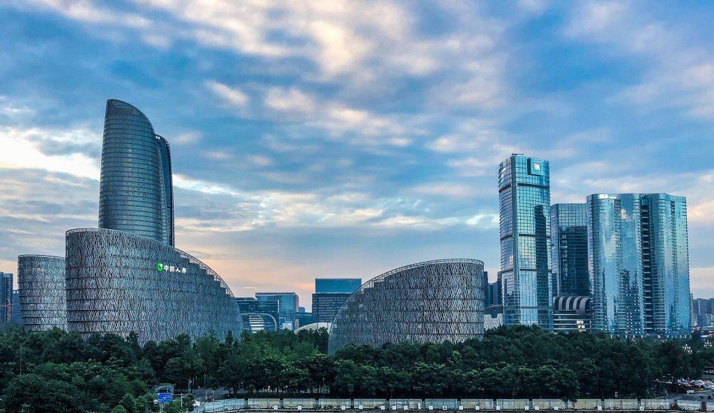 Chengdu ville de Chine, vue sur les gratte-ciels
