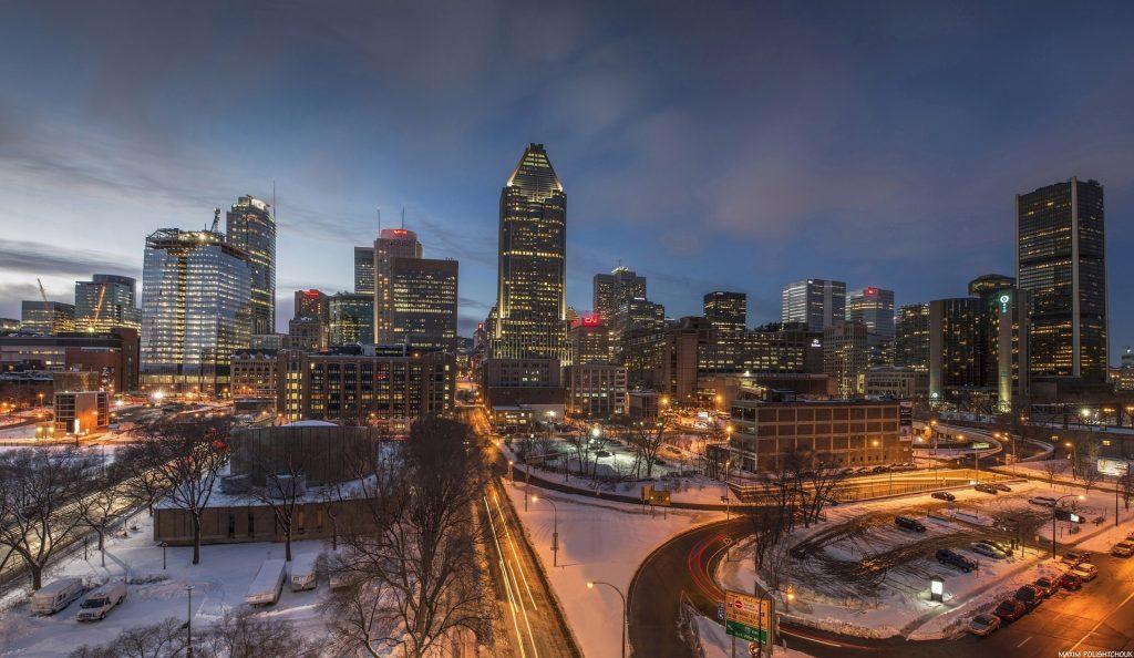 Montreal, vue de nuit et sous la neige