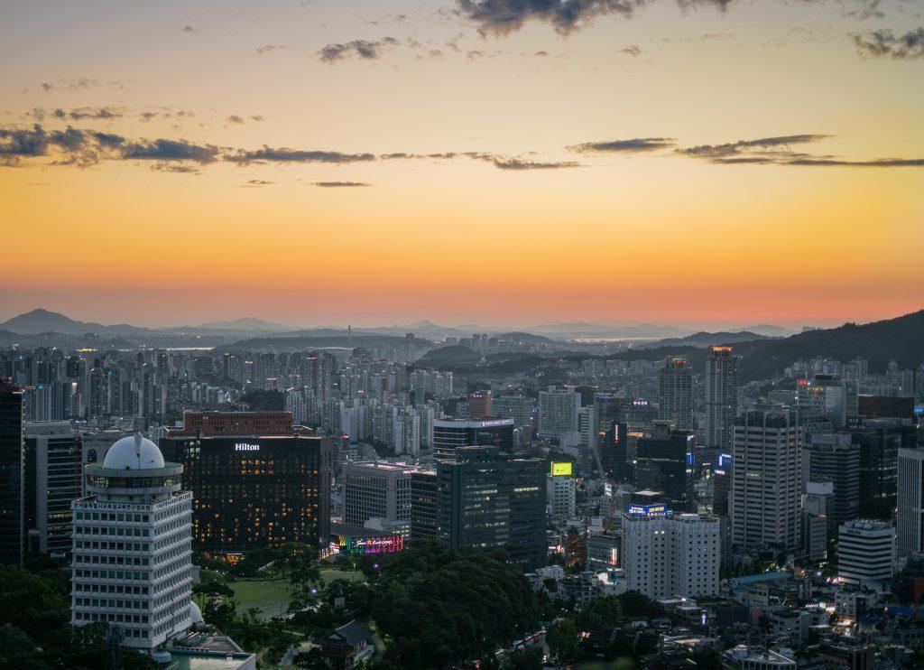 Levée de soleil sur Seoul, capitale de la Corée du Nord