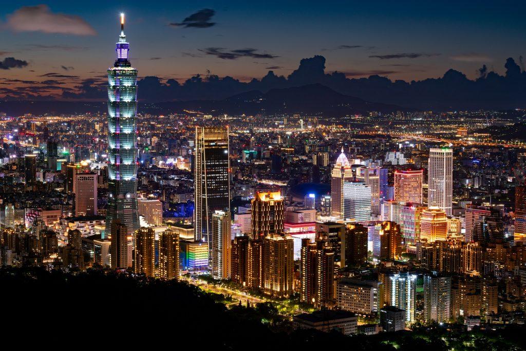 Taipei capitale de Taiwan, vue sur la tour 101, 508 mètres de hauteur et compte 101 étages