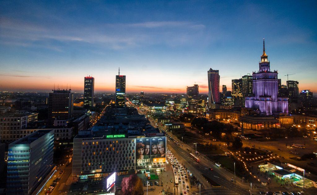 Varsovie vue de nuit, Pologne